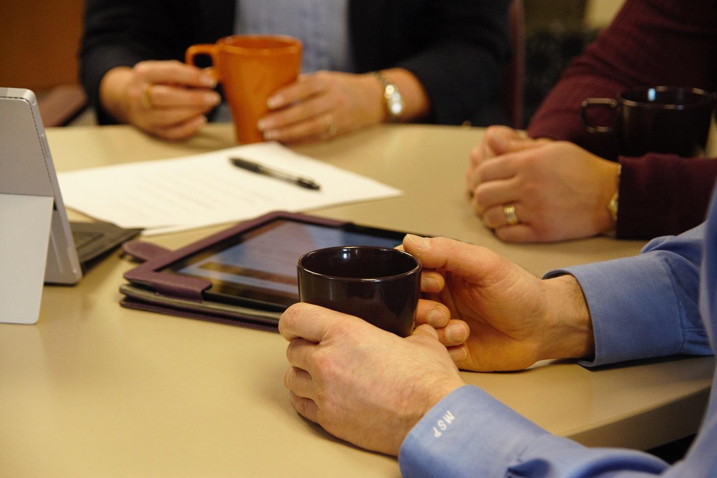 wip dashboard meeting with coffee