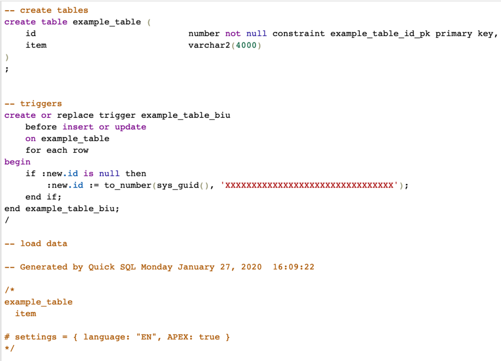 Quick SQL Code Generated
