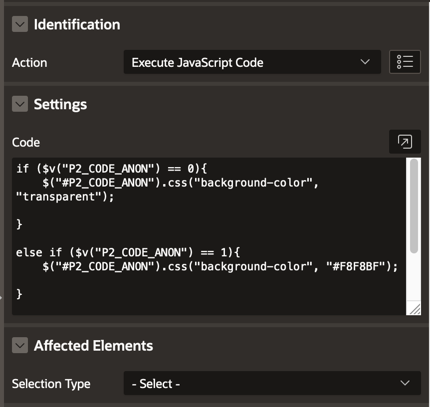 Conditionally Change Select List Color in Oracle APEX