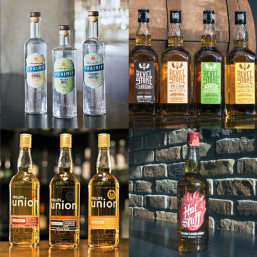 Collection of Phillips Distilling Co. liquor brands